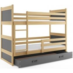 Dviaukštė trivietė lova Rico - Alksnis