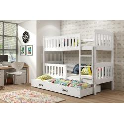 Dviaukštė 3 vietė vaikiška lova Kubus-Balta