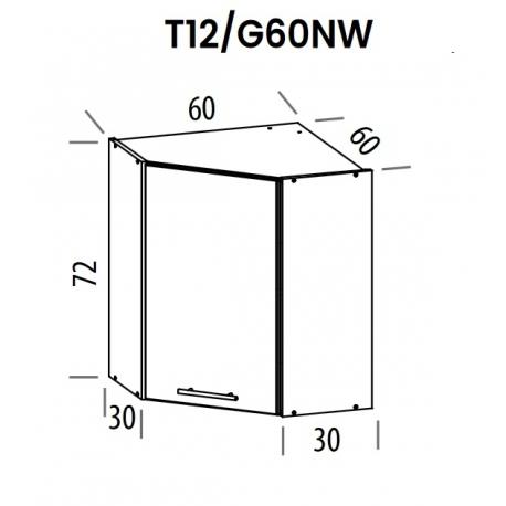 Pakabinama kampinė spintelė Tiffany T12/G60NW